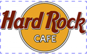Marca do Hard Rock Café no retângulo áureo