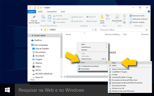 tela do Windows com criação de pastas no Windows Explorer